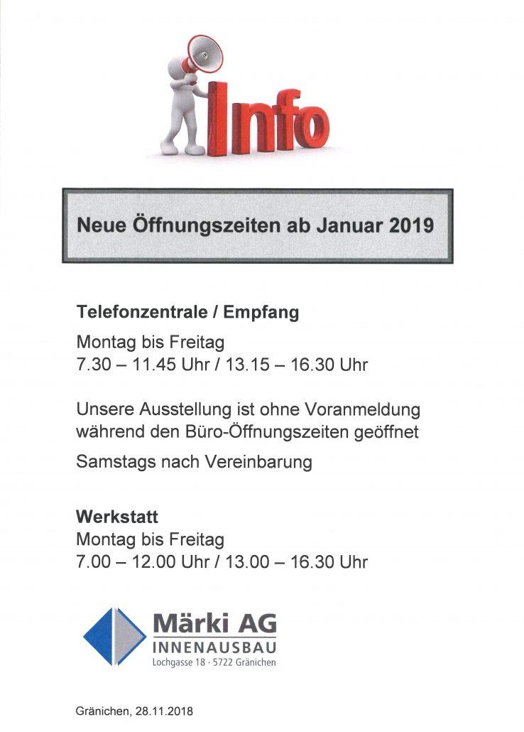 Neue öffnungszeiten Ab Januar 2019 Maerki Ag Innenausbau